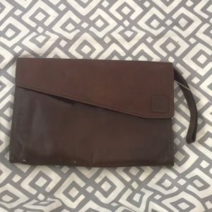 Anne Klein leather clutch with wristlet handle